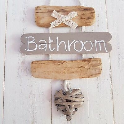 Chic Shabby Driftwood Wooden Bathroom Wc Toilet The Loo Heart Door Plaque Sign • 9.99£