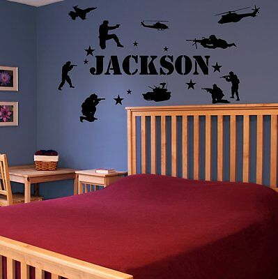 $19.99 • Buy Military Soldiers Wall Decal  Army Navy Marines Personalized Name Vinyl Sticker