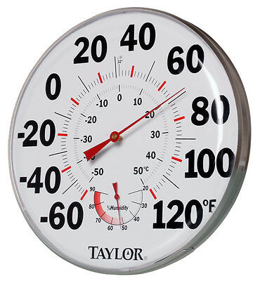 12  Inch Thermometer Temperature Humidity Gauge - Measures Climate Grow Room • 24.38£