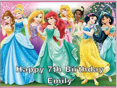 £1.85 • Buy Disney Princess Personalised A4 Cake Topper Edible Wafer Paper 7.5  By 10