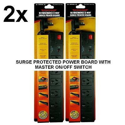 AU25.99 • Buy 2 X New 6 Way Surge Protector Power Board 6 Outlets With Master On / Off Switch