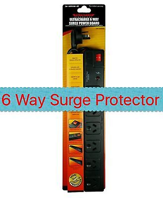 AU18.69 • Buy New 6 Way Surge Protector Power Board - 6 Outlets With Master On / Off Switch