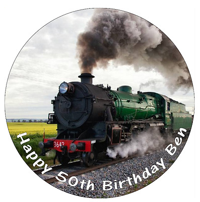Steam Train Personalised Cake Topper Edible Wafer Paper 7.5  • 1.85£