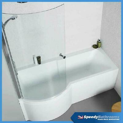 Left & Right Hand P Shaped Shower Bath & Screen 1700mm White Acrylic Bath Panels • 244£