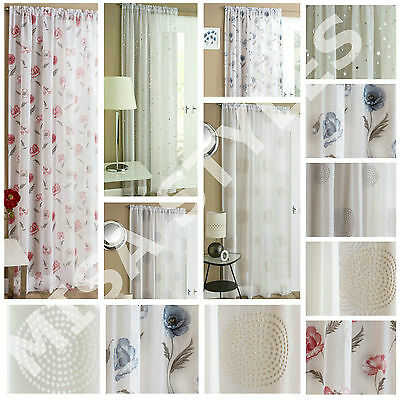 £11.99 • Buy Plain Voile Net Curtain Panel Rod Pocket Slot Top Floral Embroidered Starlight