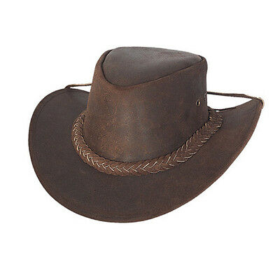 £13.55 • Buy Australian Style Leather Cowboy Western Brown Bush Leather Outback Hat