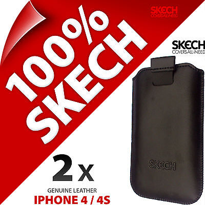 £4.97 • Buy 2 X Skech Strap Pouch Pull Tab GENUINE LEATHER Case Cover For Apple IPhone 4 4S