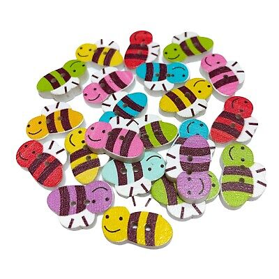 £2.79 • Buy 40 Wood Bumble Bee Buttons - Mixed Random Colours - Craft - Sewing - Cardmaking