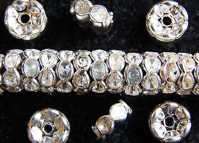RONDELLE~WAVE EDGE~SILVER PLATED~CLEAR RHINESTONE~SPACER  BEADS, 6 X 3 MM • 1.89£