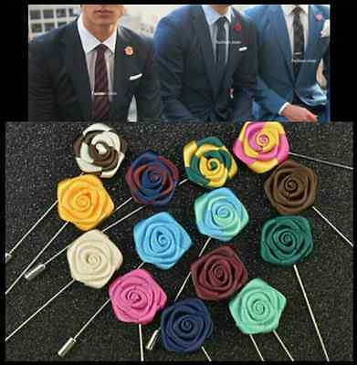 NEW Men's Corsage Boutonniere Brooch Lapel Pin Silk Mini Rose Flower Wedding  • 4.99£
