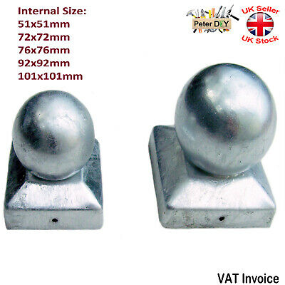 Galvanised Square Metal Fence Gate Post Cap Caps Flange 72 Or 92mm  Ball Top  • 2.69£