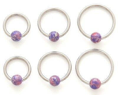 New Surgical Steel Semi Precious Lavender Agate Captive Bead Ring Hoop 16g • 3.29£