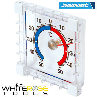 Silverline Indoor/Outdoor Thermometer Stick On Wall Garden Greenhouse Home • 2.85£
