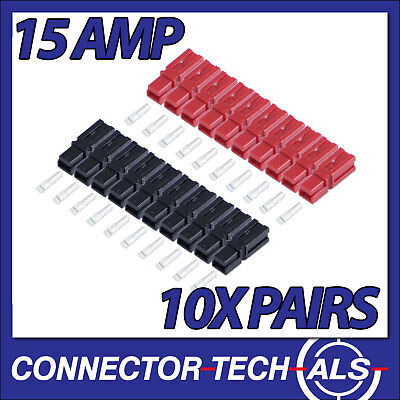 AU22.60 • Buy GENUINE Anderson Powerpole 15 Amp Red & Black Plugs 16-20AWG 10x #PP15KIT1x2