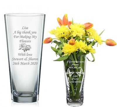Personalised Engraved Glass Vase Birthday Gifts 40th, 50th, 60th, 65th 70th 85th • 19.98£