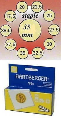 AU3 • Buy 25 HARTBERGER Staple  2 X 2 Coin Holders: 35 Mm Made In The Netherlands