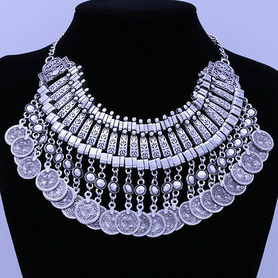Summer Women Antiqued Silver Coins Statement Bib Chunky Choker Necklace Jewelry • 4.79£