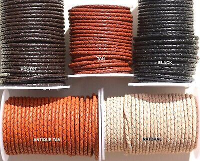 £3.20 • Buy BRAIDED Leather Cord 3MM Thick Rounded ,  Plated Leather - Thong - Cord - Lace -
