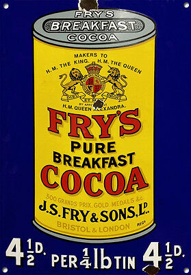 £12.49 • Buy FRY'S COCOA,Vintage Style, Metal Sign, Collectable, Enamel, No.610