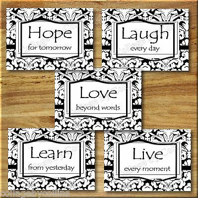 $16.69 • Buy Black White Wall Art Picture Prints Damask Inspirational Quotes Live Laugh Love