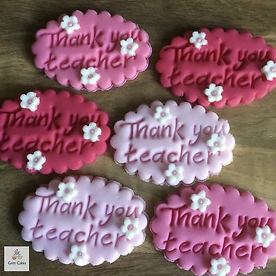 6 Thank You Teacher Gifts Edible Plaques Sugar Cake Cupcake Toppers Decorations  • 3.99£