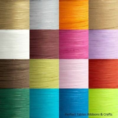 £1.31 • Buy 7mm Paper Raffia Ribbon - Favour Decoration Wrapping Crafts 5m Cut 100m Reel