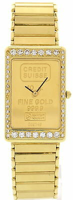 Ladies Credit Suisse 18k Yellow Gold  Fine Gold  Watch With Diamonds • 5,999$