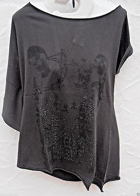Crafted Sexy Grey  Skull Crossbones Goth Tunic Top T Shirt Size 8, 10 12  New • 3.99£