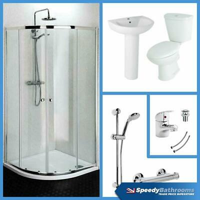 900mm Quadrant Shower Enclosure WC & Basin Bathroom Suite Set With Tap & Shower • 310£