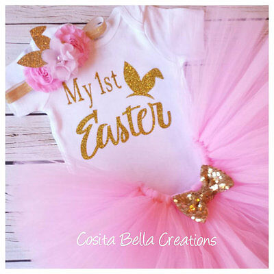 £31.28 • Buy Handmade Baby Girl My First Easter Pink And Gold Outfit Tutu Princess