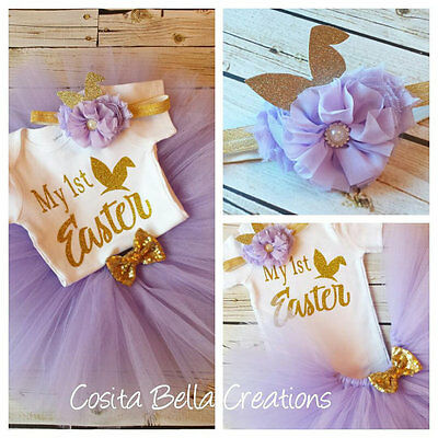 £29.10 • Buy Handmade Baby Girl My First Easter Lavender And Gold Outfit Tutu Princess
