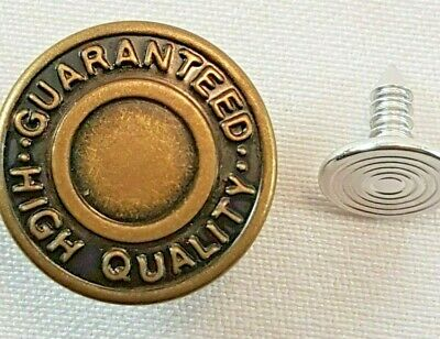 10 X 17mm Replacement Hammer On Jeans Buttons Denim Brass Studs Jacket Trousers • 2.49£