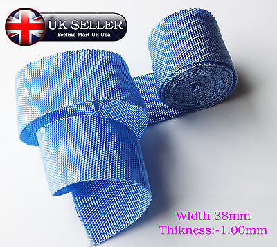 38mm Sky Blue Strong Polypropylene Webbing Bags Strap Weave Nylon Tape 1mm Thick • 15.78£