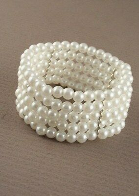 Ivory Stretch Pearl Bead Bracelet - 5 Row - Corsage Cuff Wedding • 2.65£