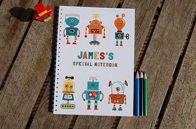 Robots Personalised Notebook Children's Girl's Boy's Gift Idea Various Sizes  • 7.99£