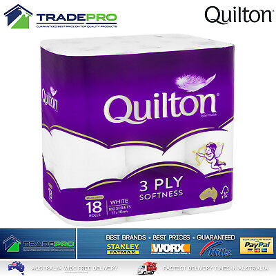 AU26 • Buy Toilet Paper 18 Rolls Deluxe Quilton 3 Ply White Soft PRO Large Roll Tissue Bulk