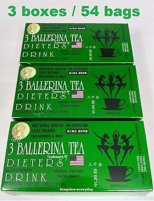 AU29.95 • Buy 3 Boxes Ballerina Tea Herbal Drink Slim Green Extra Strength Weight Loss Detox