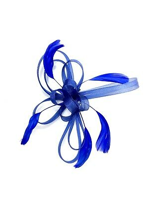 Royal Blue Feather Fascinator Hair Clip Ladies Day Races Party Wedding • 15.99£
