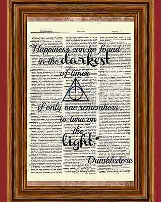 $5.99 • Buy Harry Potter Dictionary Art Print Picture Dumbledore Happiness Light Quote
