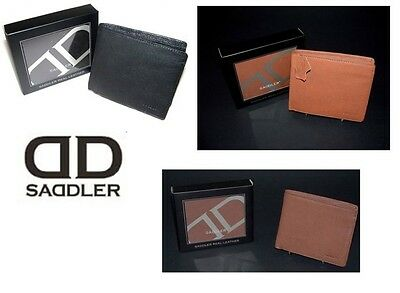 Saddler Leather Mens Wallet 7 CC Slots 2 Bank Note Sections Coin Section Boxed • 20£