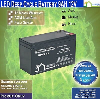 AU34.95 • Buy 9AH AGM Battery Deep Cycle,12V Ideal For Camping,caravans,RVs,Buses