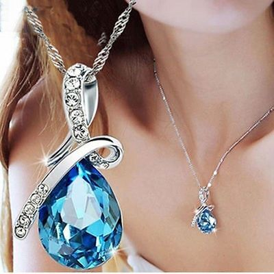 $0.99 • Buy Women's Fashion Silver Chain Crystal Rhinestone Pendant Necklace Jewelry Gift