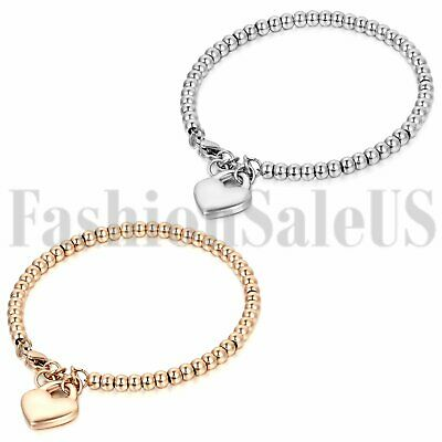 $6.64 • Buy Women's Ladies Stainless Steel Charm Heart Dangle Beaded Chain Bracelet Bangle