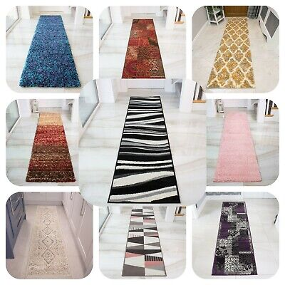 Long Geometric Hall Runners Narrow Carpet Runner Modern Designer Hallway Runner • 19.95£