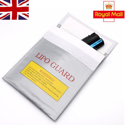 RC LiPo Battery Safety Bag Safe Guard Charge Fireproof Sack 30*23cm Silver In UK • 5.95£