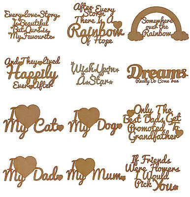Laser Cut Medium Wooden MDF Craft Shapes Blanks Quotes MULTIPLE DESIGNS • 2.50£