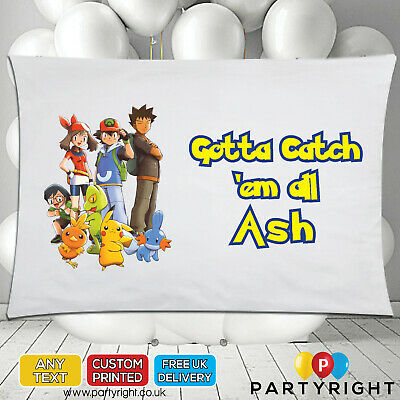 Personalised Pokemon Group Kids Gotta Catch Pillowcase Pillow Case • Any Name • 8.99£