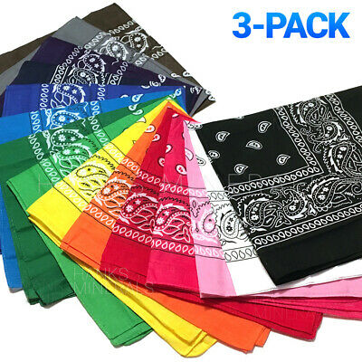 $6.98 • Buy 3-Pack Bandana 100% Cotton Paisley Print Double-Sided Scarf Head Neck Face Mask
