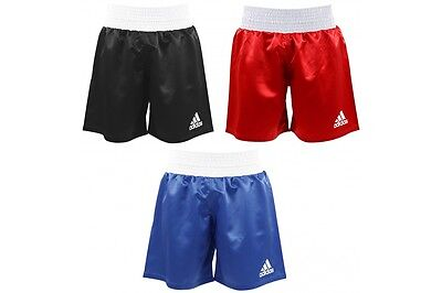 ADIDAS MULTI BOXING SATIN SHORTS ELASTICATED WAIST Red, Blue And Black • 15.99£