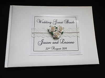 White Or Ivory Personalised Wedding Guest Book Vintage Style With Lace & Roses • 19.99£
